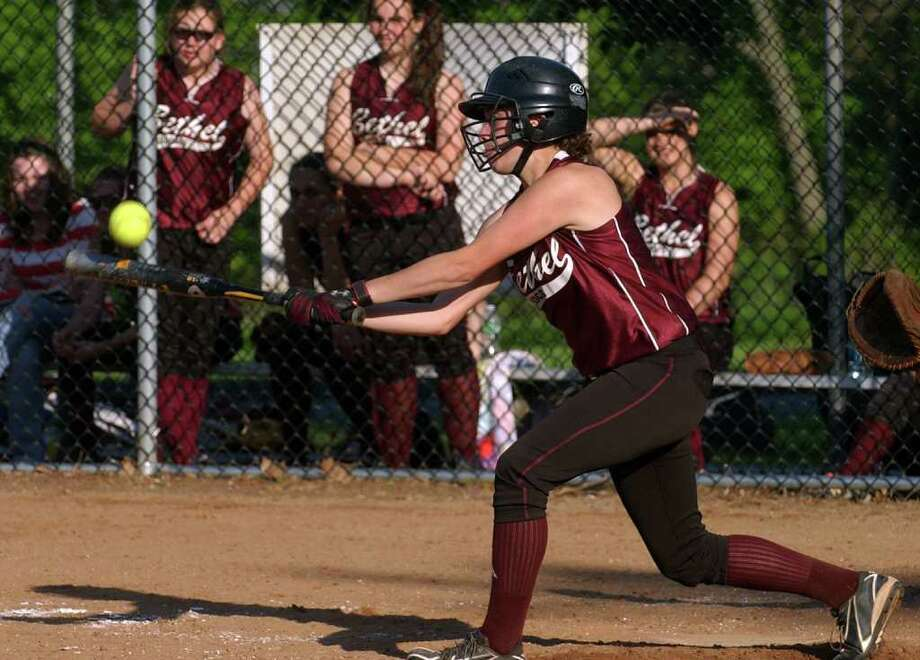 Highlights from SWC girls softball quarterfinal action between Lauralton Hall and Bethel in Milford, Conn. on Wednesday May 25, 2011. Bethel's #13 Emily DeFazio. Photo: Christian Abraham / Connecticut Post
