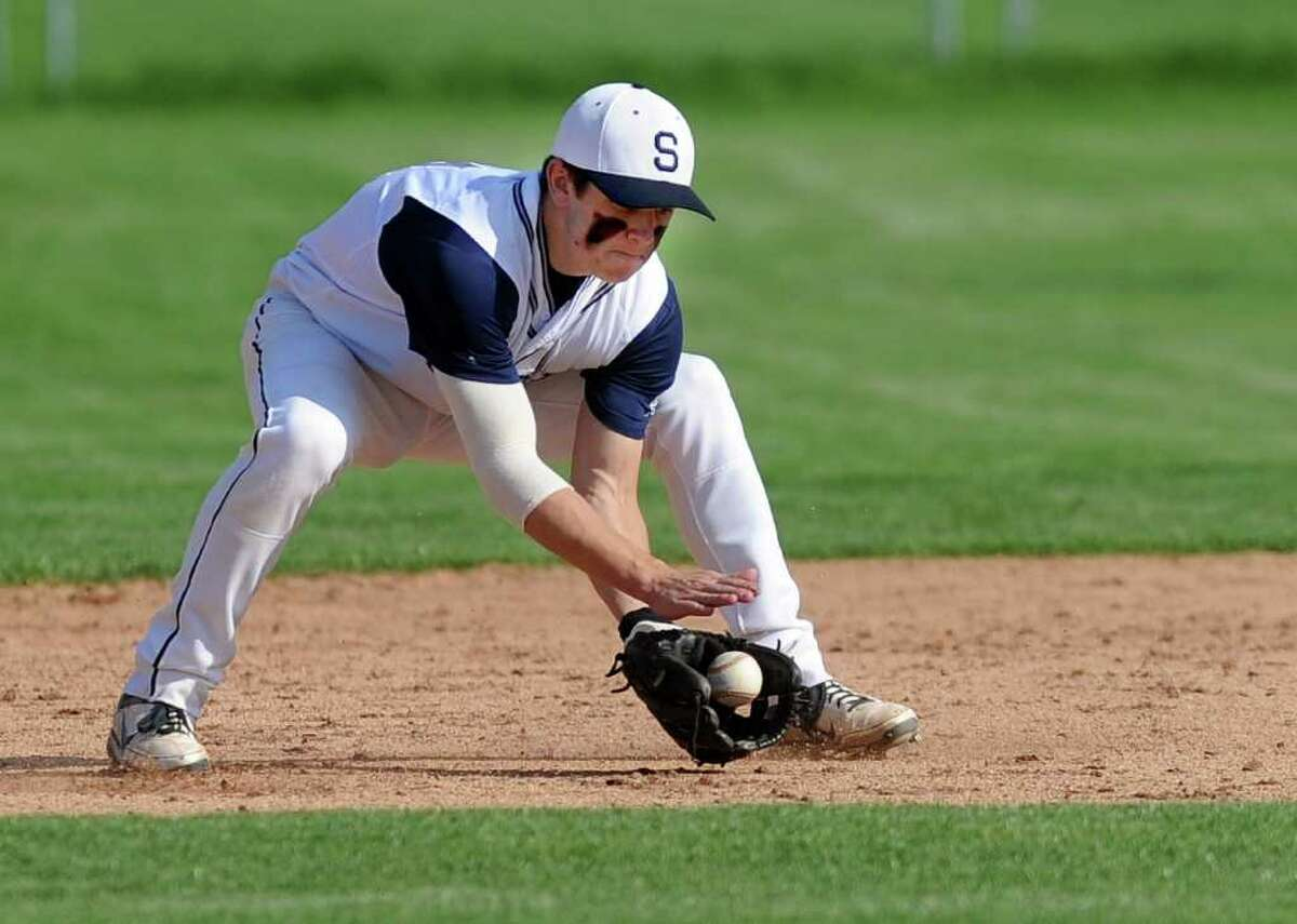 Staples' Mike Scott makes a play during Wednesday's FCIAC quarterfinal game at Staples High School on May 25, 2011.