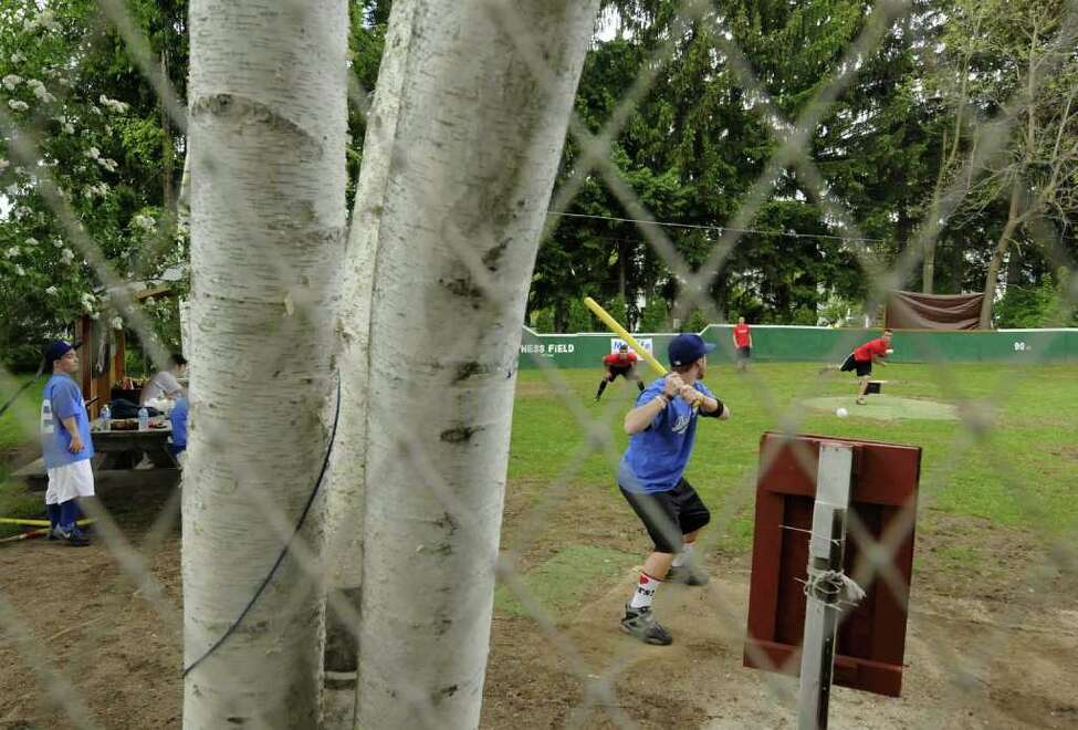 The Dodgers and Cardinals face off in a league game of wiffle ball at the Hess Wiffle Ball Field in Glenville, NY Tuesday May 24, 2011.( Michael P. Farrell/Times Union )