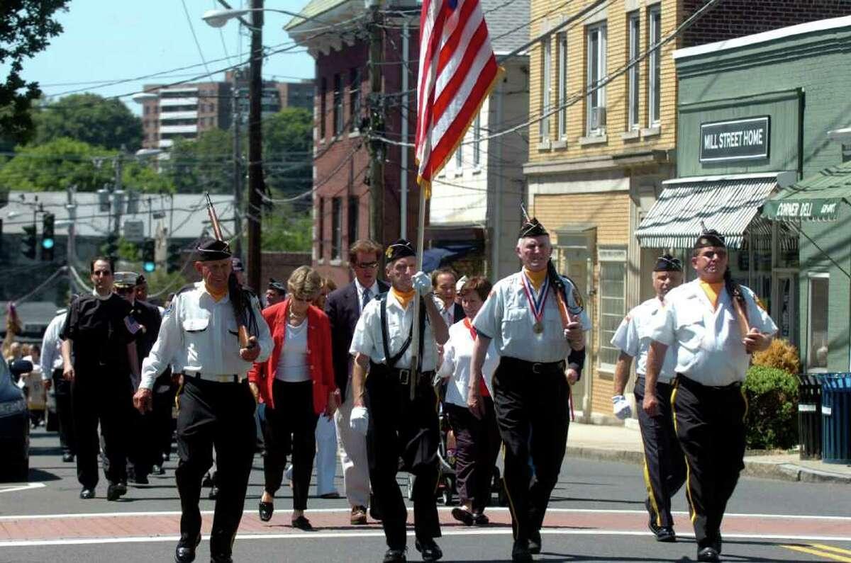 The Byram Memorial Day parade marches up Delavan Avenue in 2010.