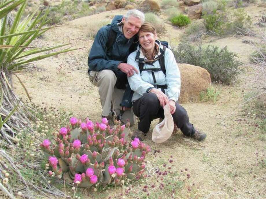 Leon and Patricia Barkman of Newtown paused to capture a moment during a hike in California last April. Married since 1967, the Barkmans continue to enjoy life in the great outdoors, whether at home or abroad. Photo: Contributed Photo / The News-Times Contributed