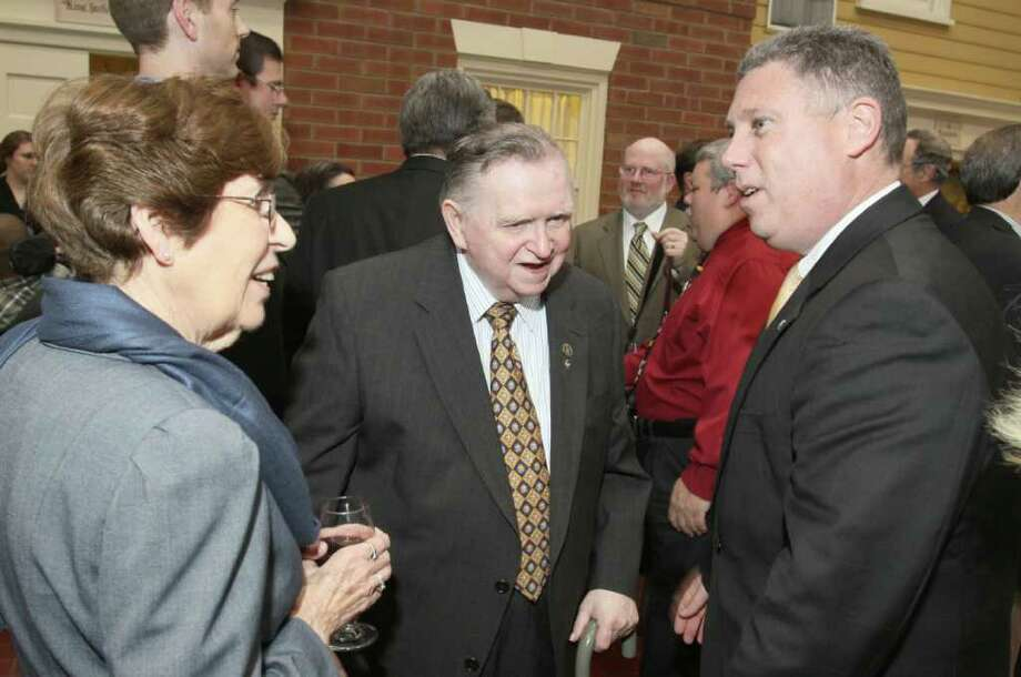 "Cohoes Mayor John T. McDonald III, right, talks with Jack ""Mr. Old Time Radio"" Keenan and his wife, Margaret, during the John McLoughlin Roast to benefit The John McLoughlin Fund, part of the Endowment at the Center for Disability Services, on May 17, 2011, in Albany, N.Y. (Photo by Joe Putrock / Special to the Times Union) Photo: Joe Putrock / Joe Putrock"
