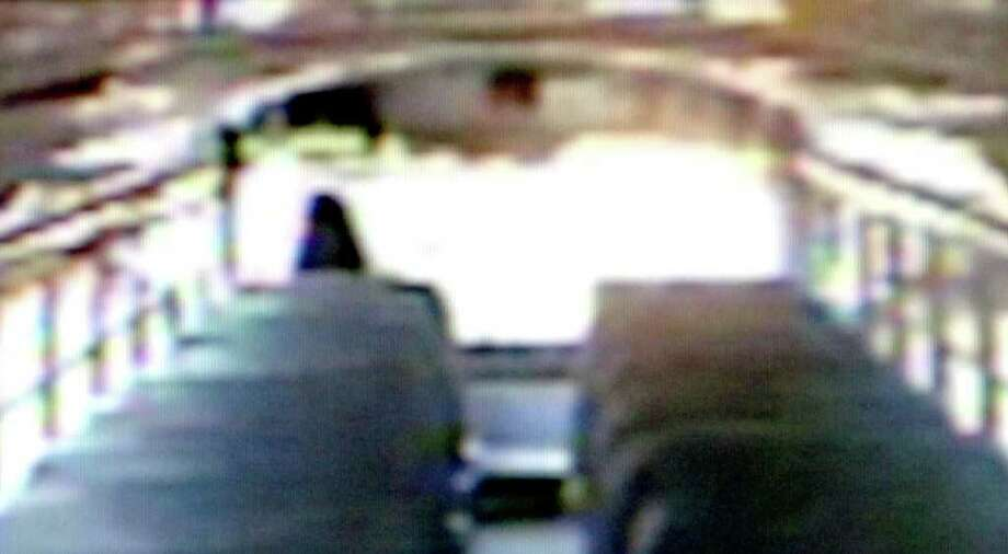 A substitute Beaumont Independent School District bus driver turns onto Cottonwood Avenue in Beaumont after leaving the fueling station on March 7 at 9:15 a.m. still from video provided by Beaumont Independent School District.