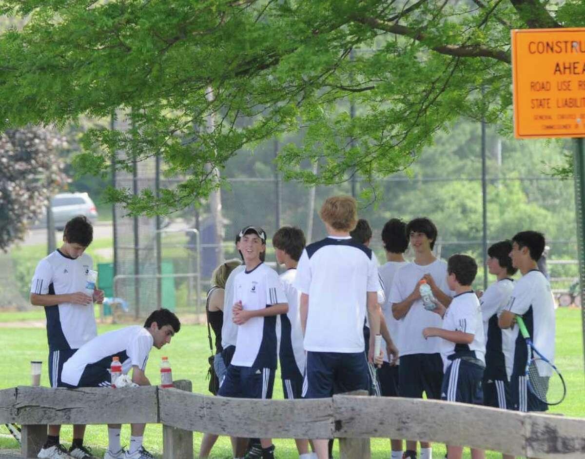 FCIAC boys high school tennis final between Greenwich High School and Staples High School at Wilton High School, Thursday afternoon, May 26, 2011.