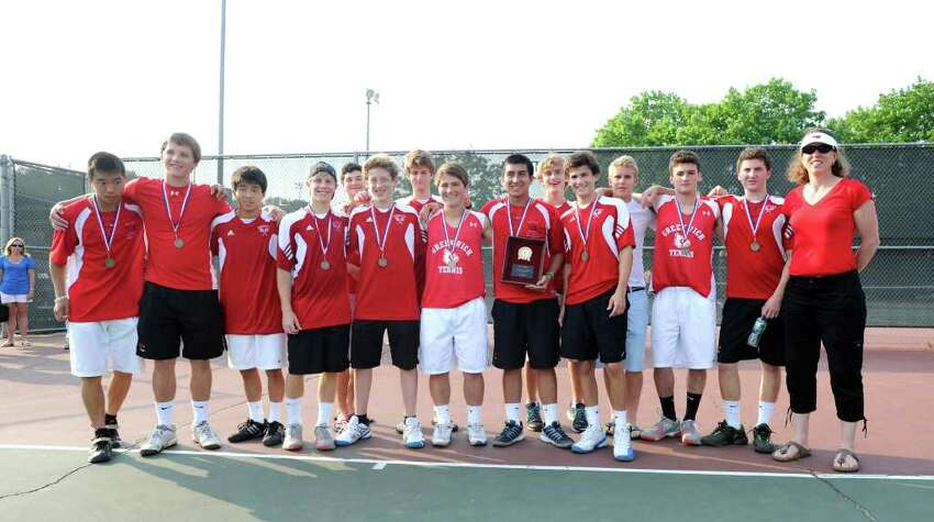 The FCIAC boys high school tennis champions, Greenwich High School, after their victory over Staples High School at Wilton High School, Thursday afternoon, May 26, 2011.