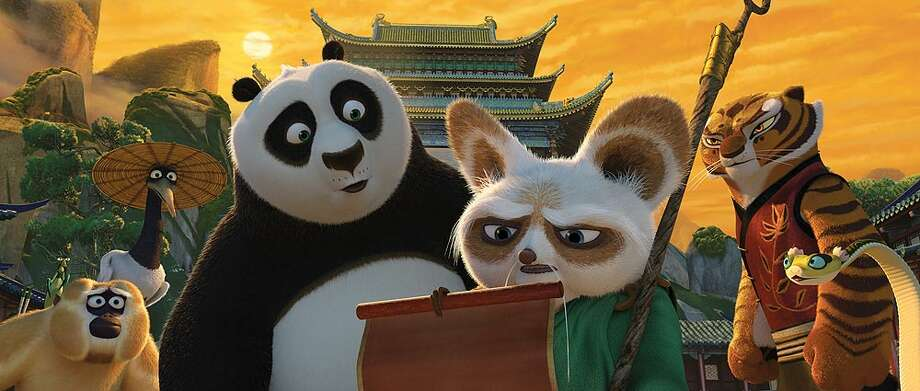 "(From left) Monkey (voiced by Jackie Chan), Crane (David Cross), Po (Jack Black), Shifu (Dustin Hoffman), Tigress (Angelina Jolie) and Viper (Lucy Liu) receive troubling news about Lord Shen's plan to take over China in ""Kung Fu Panda 2."""