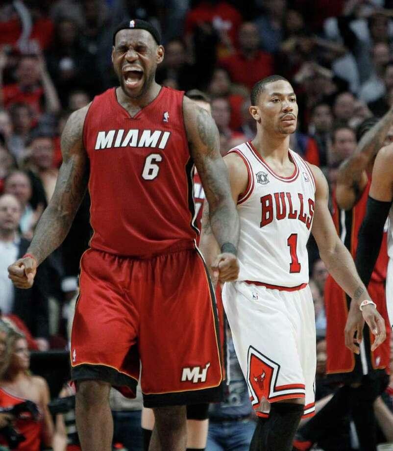 Miami Heat forward LeBron James (6) reacts as Miami wins Game 5 of the 2ff566446b00