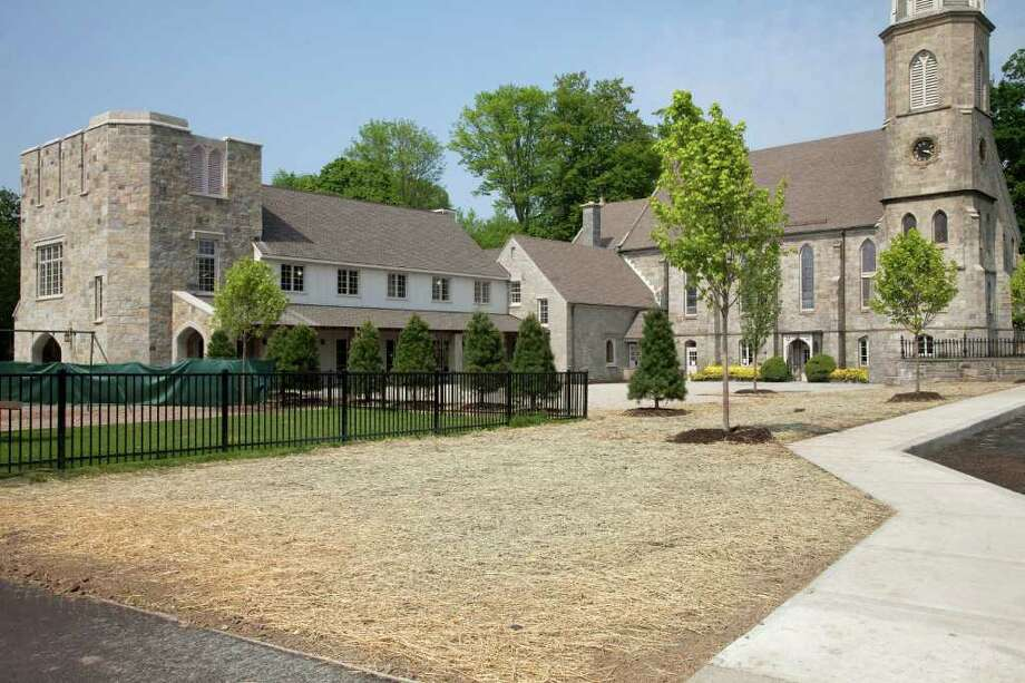 The church's new Great Hall can be seen extending to the left from the old parish hall building between the church and the new hall. The parish hall, which was a meeting hall, was turned into a servery and room for classes or meetings during the $4.7 million project, which included new landscaping and renovation of the church itself. Photo: Contributed Photo