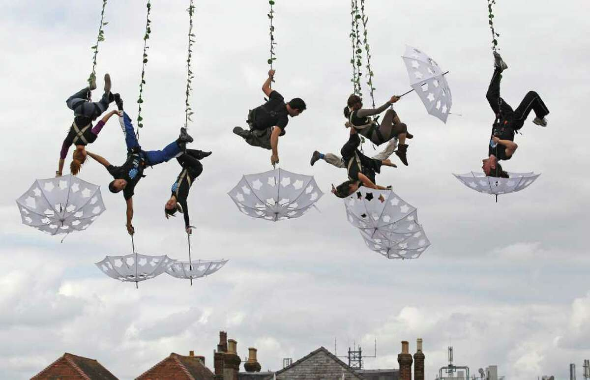 Aerial dancers from Voloa perform a dress rehearsal ahead of their performance at the opening night of Salisbury International Arts Festival on May 20, 2011 in Salisbury, England.