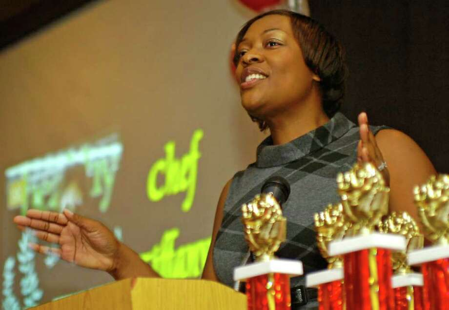 """Tiffany Derry, who appeared on Bravo's """"Top Chef All-Stars, """" was the guest speaker at the Homer Drive Elementary School's 5th grade recognition breakfast Friday morning.   She currently is Executive Chef, co-owner of her own restaurant called Private Social.  Dave Ryan/The Enterprise"""