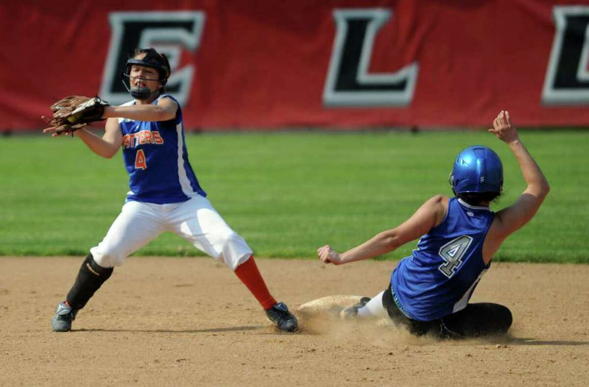 Fairfield Ludlowe's Elise Perazzini steals second base as Danbury's Erica Carboni catches the ball Thursday, May 26, 2011 during the FCIAC softball semifinal game at Fairfield University.