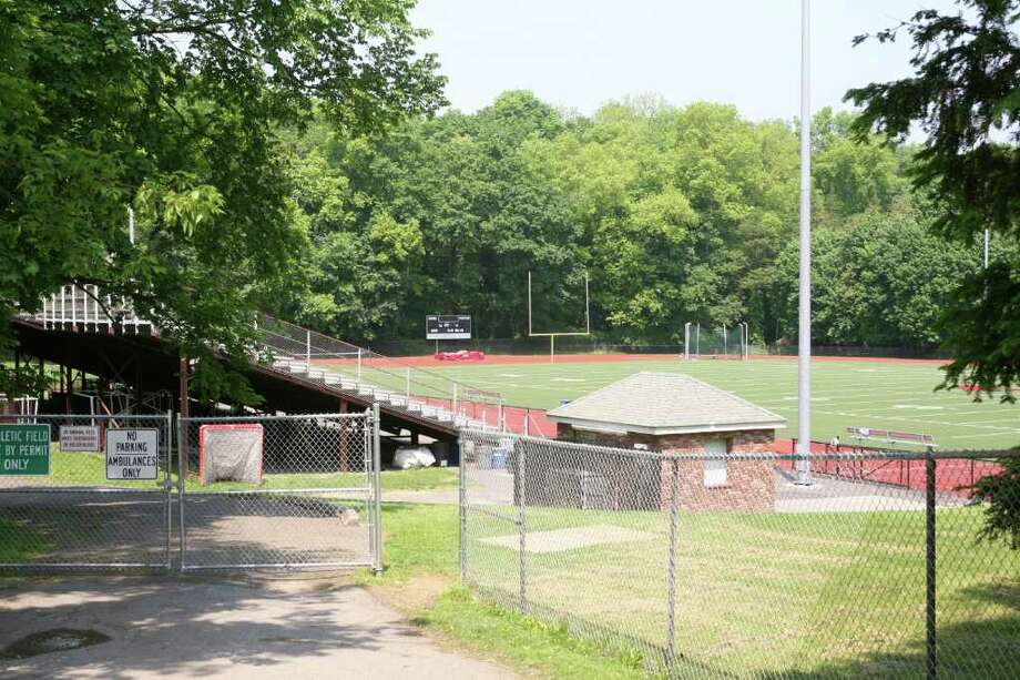 Greenwich High School's athletic field and bleachers at Cardinal Stadium as seen from West Putnam Avenue Friday afternoon, May 27, 2011. Photo: David Ames, David Ames/For Greenwich Time / Greenwich Time Freelance