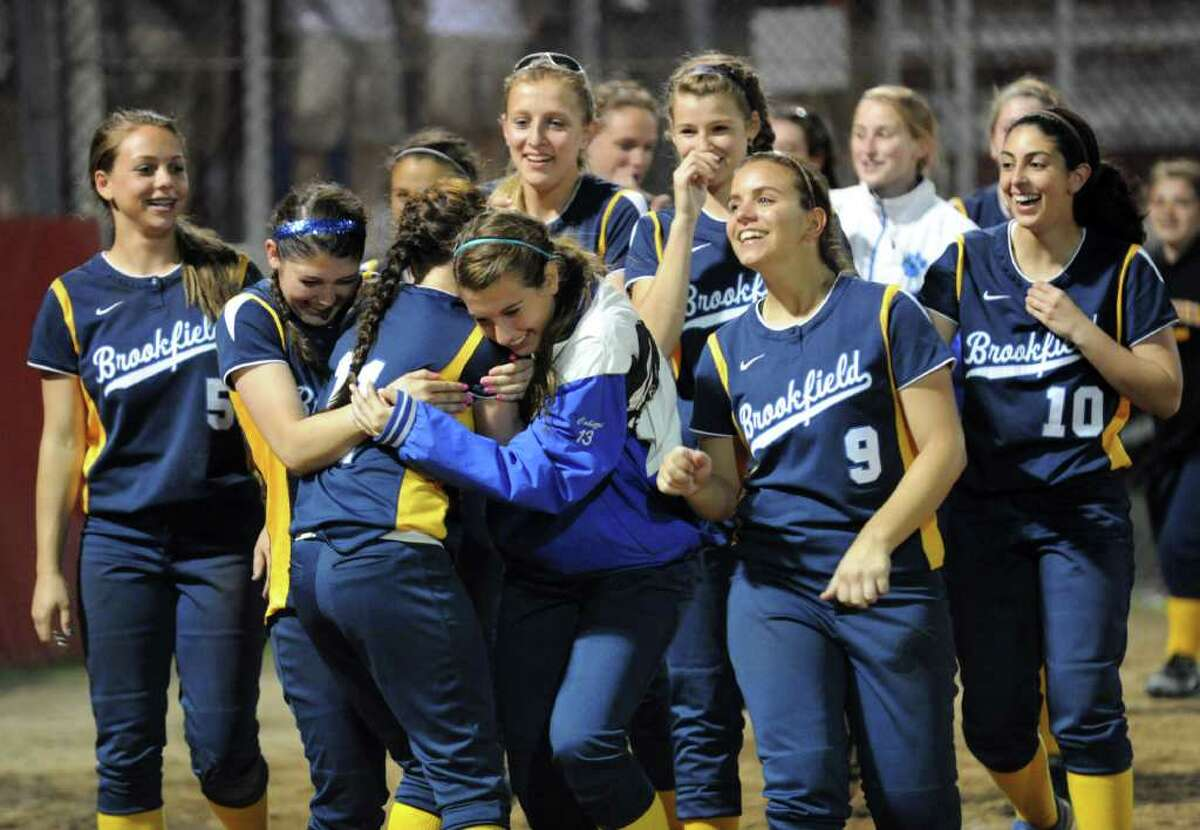 Highlights of SWC girls softbal championship action between Brookfield and Pomperaug at DeLuca Field in Stratford, Conn. on Friday May 27, 2011.