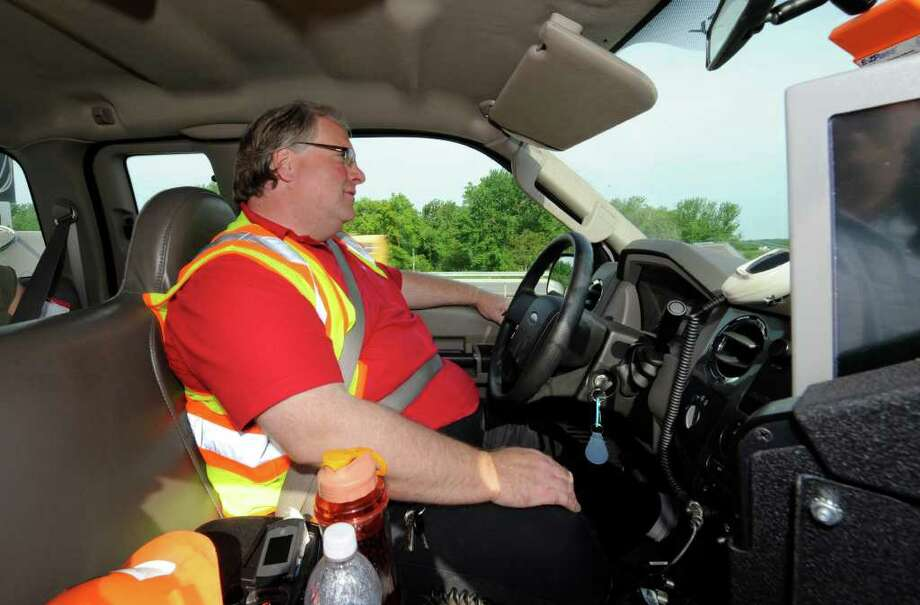 Michael Link, HELP Truck operator stays vigilant for disabled cars on local interstates in Albany, N.Y. May 27, 2011.      (Skip Dickstein / Times Union) Photo: SKIP DICKSTEIN / 10013327A