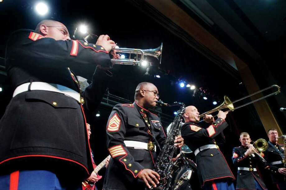 The US Marine Corps Parris Island Band performs as local veterans, students and faculty attend the New Canaan Veterans' Symposium at New Canaan High School in New Canaan, Conn. on Friday May 27, 2011. Photo: Kathleen O'Rourke / Stamford Advocate