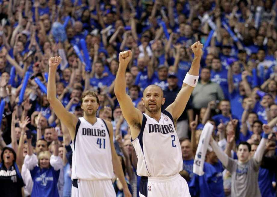 In his 17th season, Mavericks point guard Jason Kidd (right) is in his third NBA Finals and is looking for his first title. Dirk Nowitzki (left) is one of two Mavericks who remain from the 2006 Finals team. Photo: Tony Gutierrez/Associated Press