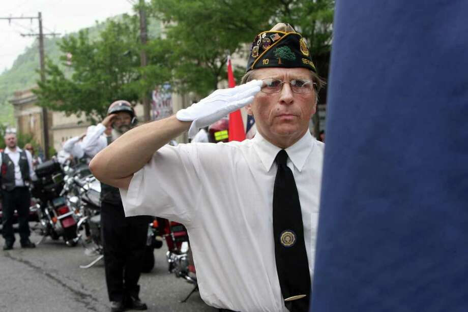George Bashura of Emil Senger Post 10 marches in the Seymour Memorial Day parade on Sunday, May 29, 2011. Photo: B.K. Angeletti / Connecticut Post