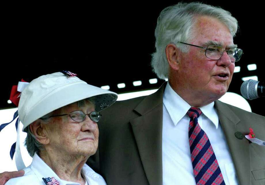 """SPECTRUM/100-year-old Dorothy """"Dot"""" Clark is introduced by Sherman Selectman Ed Hayes as the Grand Marshal of their town's Memorial Day parade. May 29, 2011 Photo: Norm Cummings / The News-Times"""