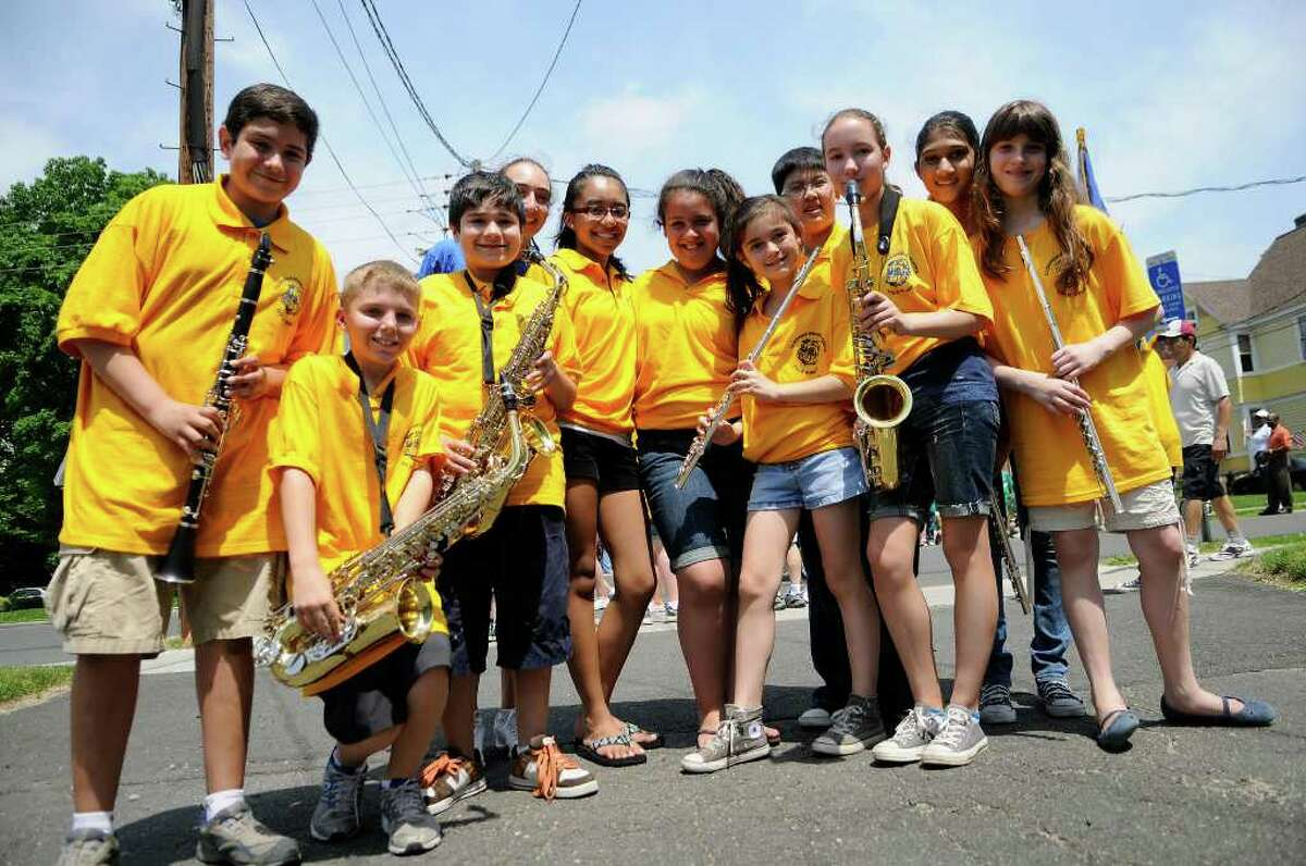 Members of the Cloonan Middle School band prepare to march in the Memorial Day parade in downtown Stamford, CT on Sunday May 29, 2011.