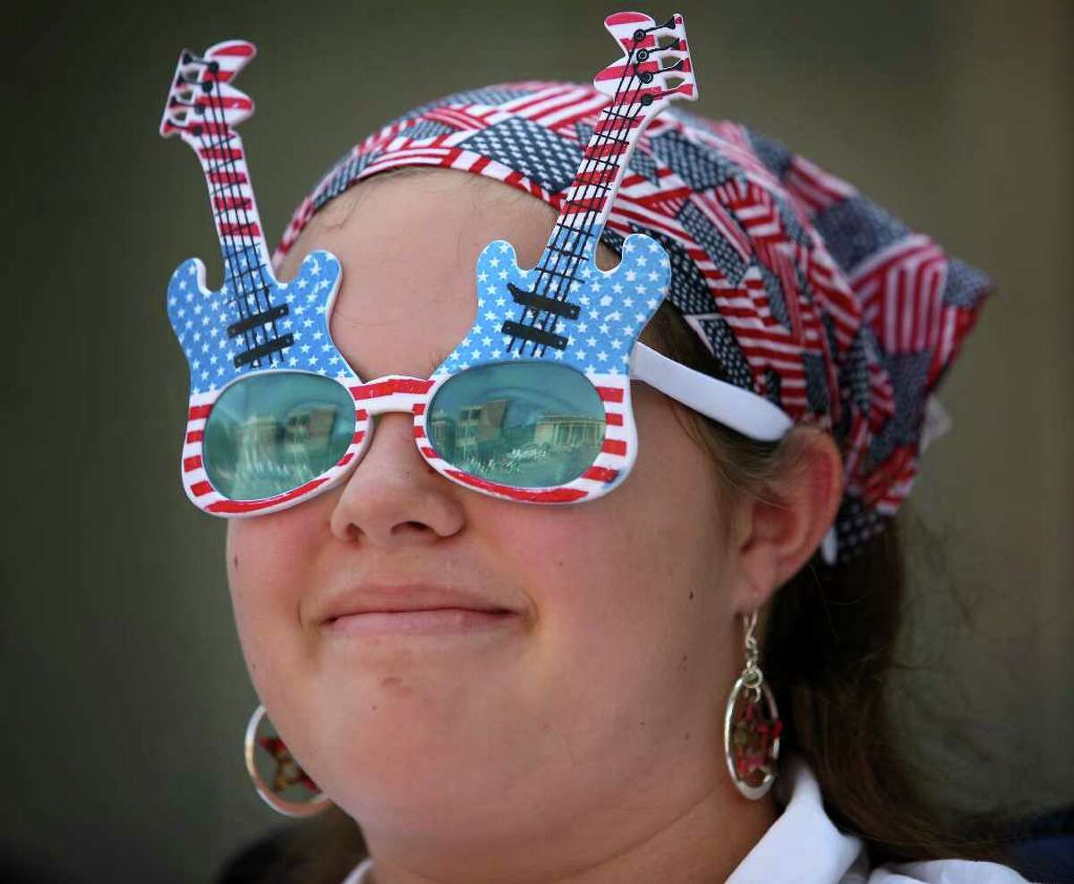 Makayla Eaton, 13 of Ansonia, shows off her patriotic spirit at the annual Memorial Day Parade in downtown Ansonia on Sunday, May 29, 2011.