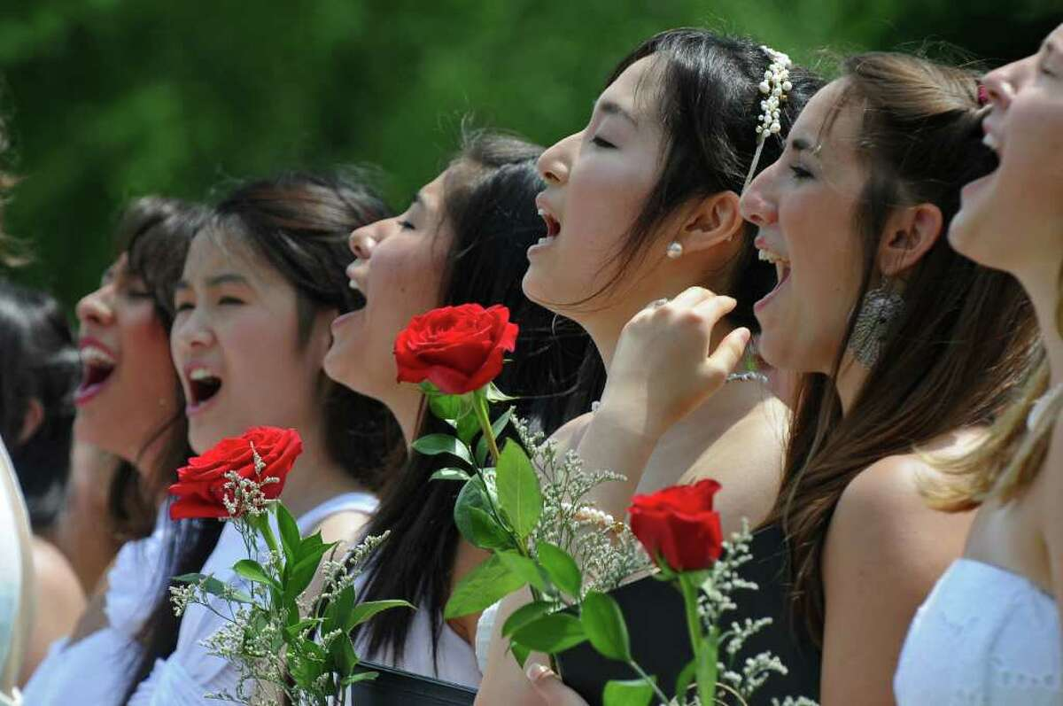 Emma Willard graduates sing the Alma Mater during the 197th Commencement Exercises at the Emma Willard School, on Sunday morning May 29, 2011 in Troy, NY. ( Philip Kamrass / Times Union)