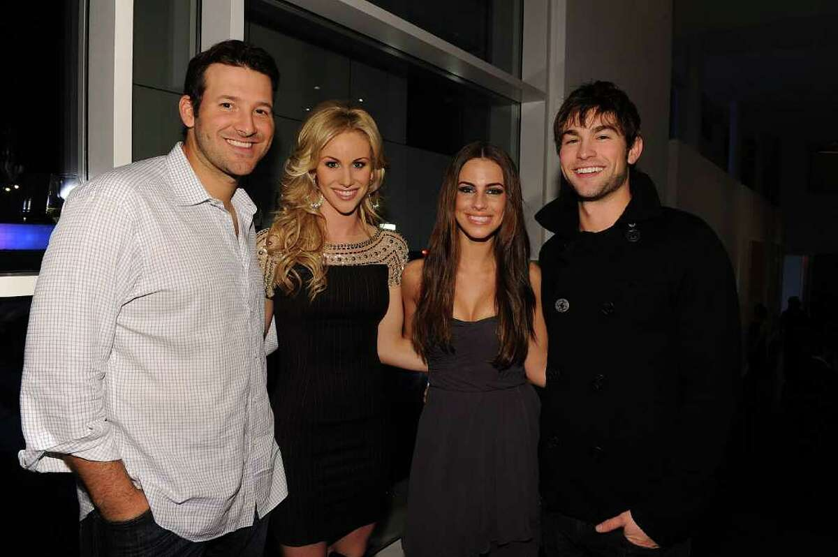 DALLAS, TX - FEBRUARY 05: Dallas Cowboys Quarterback Tony Romo, television personality Candice Crawford, actress Jessica Lowndes and actor Chase Crawford attend a private dinner hosted by Audi during Super Bowl XLV Weekend at the Audi Forum Dallas on February 5, 2011 in Dallas, Texas. (Photo by Michael Buckner/Getty Images for Audi) *** Local Caption *** Tony Romo;Candice Crawford;Jessica Lowndes;Chase Crawford