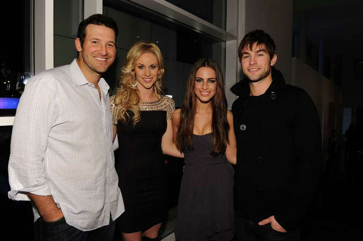 DALLAS, TX - FEBRUARY 05: (L-R) Dallas Cowboys Quarterback Tony Romo, television personality Candice Crawford, actress Jessica Lowndes and actor Chase Crawford attend a private dinner hosted by Audi during Super Bowl XLV Weekend at the Audi Forum Dallas on February 5, 2011 in Dallas, Texas. (Photo by Michael Buckner/Getty Images for Audi) *** Local Caption *** Tony Romo;Candice Crawford;Jessica Lowndes;Chase Crawford