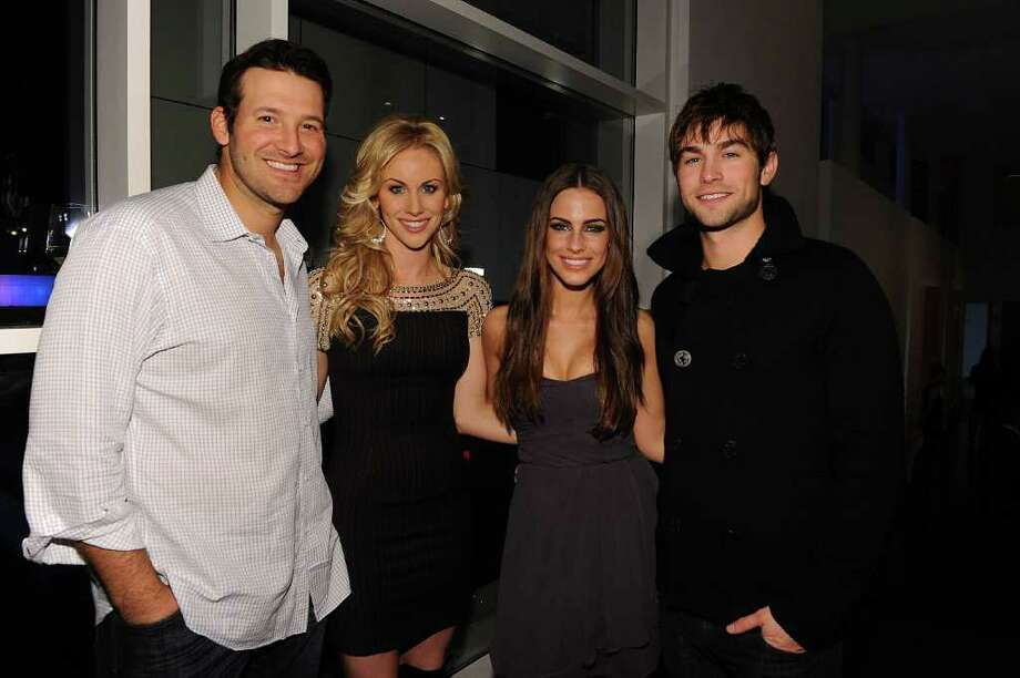 DALLAS, TX - FEBRUARY 05:  (L-R) Dallas Cowboys Quarterback Tony Romo, television personality Candice Crawford, actress Jessica Lowndes and actor Chase Crawford attend a private dinner hosted by Audi during Super Bowl XLV Weekend at the Audi Forum Dallas on February 5, 2011 in Dallas, Texas.  (Photo by Michael Buckner/Getty Images for Audi) *** Local Caption *** Tony Romo;Candice Crawford;Jessica Lowndes;Chase Crawford Photo: Michael Buckner, Getty Images For Audi / 2011 Getty Images