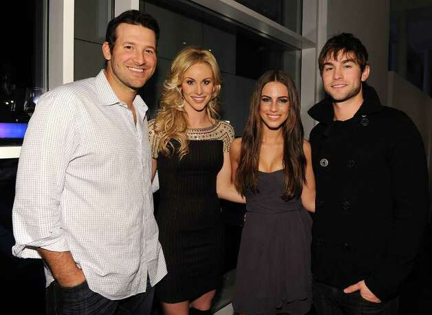 DALLAS, TX - FEBRUARY 05:  Dallas Cowboys Quarterback Tony Romo, television personality Candice Crawford, actress Jessica Lowndes and actor Chase Crawford attend a private dinner hosted by Audi during Super Bowl XLV Weekend at the Audi Forum Dallas on February 5, 2011 in Dallas, Texas.  (Photo by Michael Buckner/Getty Images for Audi) *** Local Caption *** Tony Romo;Candice Crawford;Jessica Lowndes;Chase Crawford Photo: Michael Buckner, Getty Images For Audi / 2011 Getty Images