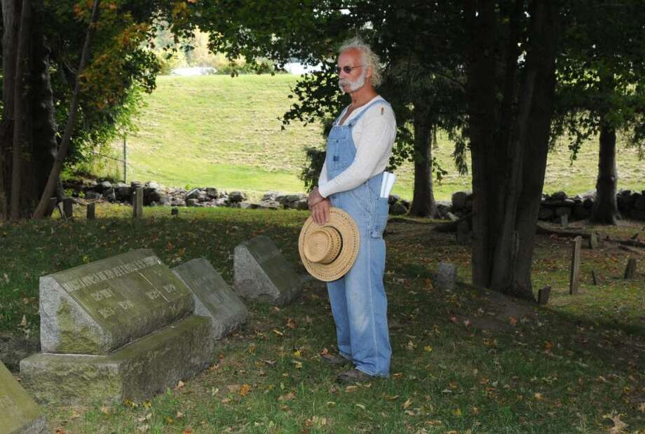 Joseph Coniglio,64, of New Fairfield, CT is dressed as Alexander Brush, a cattleman from New Fairfield, 1829-1920, who is buried in the New Fairfield Cemetery, on Saturday, Sept. 26, 2009.. Preserve New Fairfield Inc.,will hold a tour of the cemetery next weekend. Other notable New Fairfielders buried there will also be represented by actors. by actors in costume. Photo: Jay Weir / The News-Times