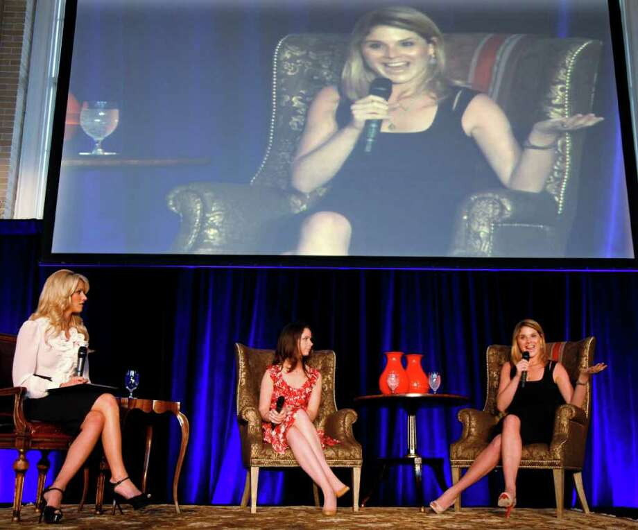 Candice Crawford, left, interviews Barbara Pierce Bush, center, and Jenna Bush Hager at the 2011 Spring Luncheon benefiting Nexus Recovery Center, Thursday,  May 12, 2011, in Dallas. The annual event hosted by the Women's Auxiliary of Nexus Recovery Center was held at Union Station. Photo: AP