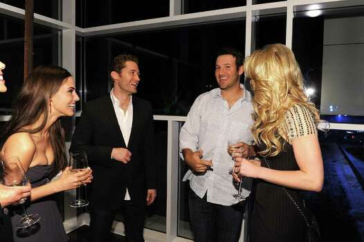 DALLAS, TX - FEBRUARY 05:  (L-R) Actress Jessica Lowndes, actor Matthew Morrison, Dallas Cowboys Quarterback Tony Romo and television personality Candice Crawford attend a private dinner hosted by Audi during Super Bowl XLV Weekend at the Audi Forum Dallas on February 5, 2011 in Dallas, Texas. Photo: Michael Buckner, Getty Images / 2011 Getty Images