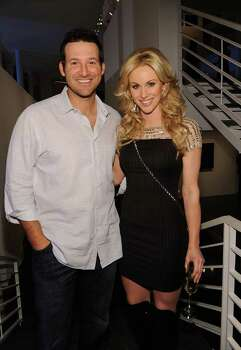 DALLAS, TX - FEBRUARY 05:  Dallas Cowboys Quarterback Tony Romo (L) and television personality Candice Crawford attend a private dinner hosted by Audi during Super Bowl XLV Weekend at the Audi Forum Dallas on February 5, 2011 in Dallas, Texas. Photo: Michael Buckner, Getty Images / 2011 Getty Images