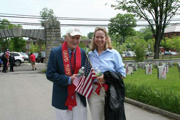 Grand Marshal Bill Flanagan walks with State Rep. Terrie Wood at Darien's Memorial Day Parade. Kristen Riolo for the Darien News Photo: Contributed Photo / Darien News