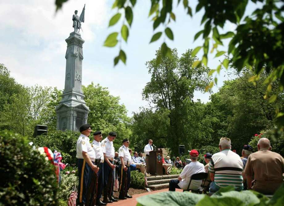 Stratford Mayor John Harkins addresses the Memorial Day service at the War Memorial at Academy Hill in Stratford on Monday, May 30, 2011. Photo: Brian A. Pounds / Connecticut Post