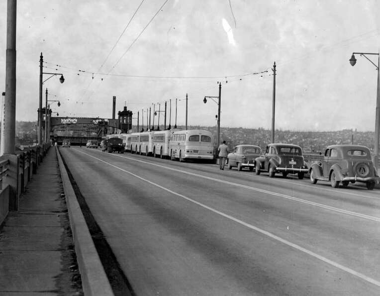 Traffic backed up on the Ballard Bridge, April 4, 1949.