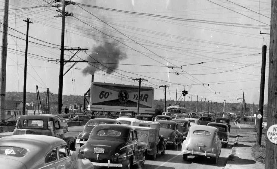 The Ballard Bridge, July 1949. Photo: Seattlepi.com File