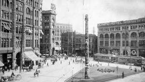 A historic image of Pioneer Square.