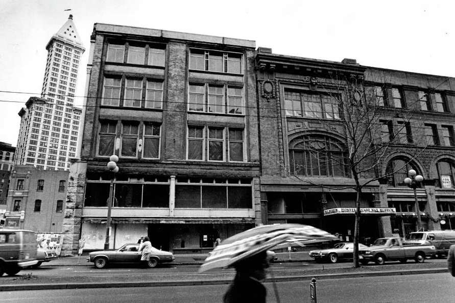 The Dec. 1981 photo caption read: A pair of Pioneer Square buildings, the Lippy Building (left) and