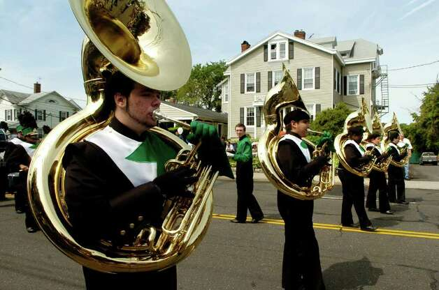 Norwalk High School's Marching Bears perform at the Norwalk, Conn. Memorial Day Parade on Monday May 30, 2011. Photo: Dru Nadler / Stamford Advocate Freelance