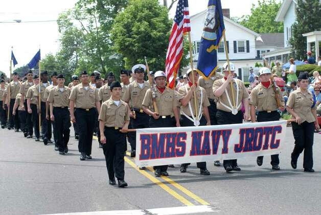 Brien McMahon High School Navy JROTC march in the Norwalk, Conn. Memorial Day Parade on Monday May 30, 2011. Photo: Dru Nadler / Stamford Advocate Freelance