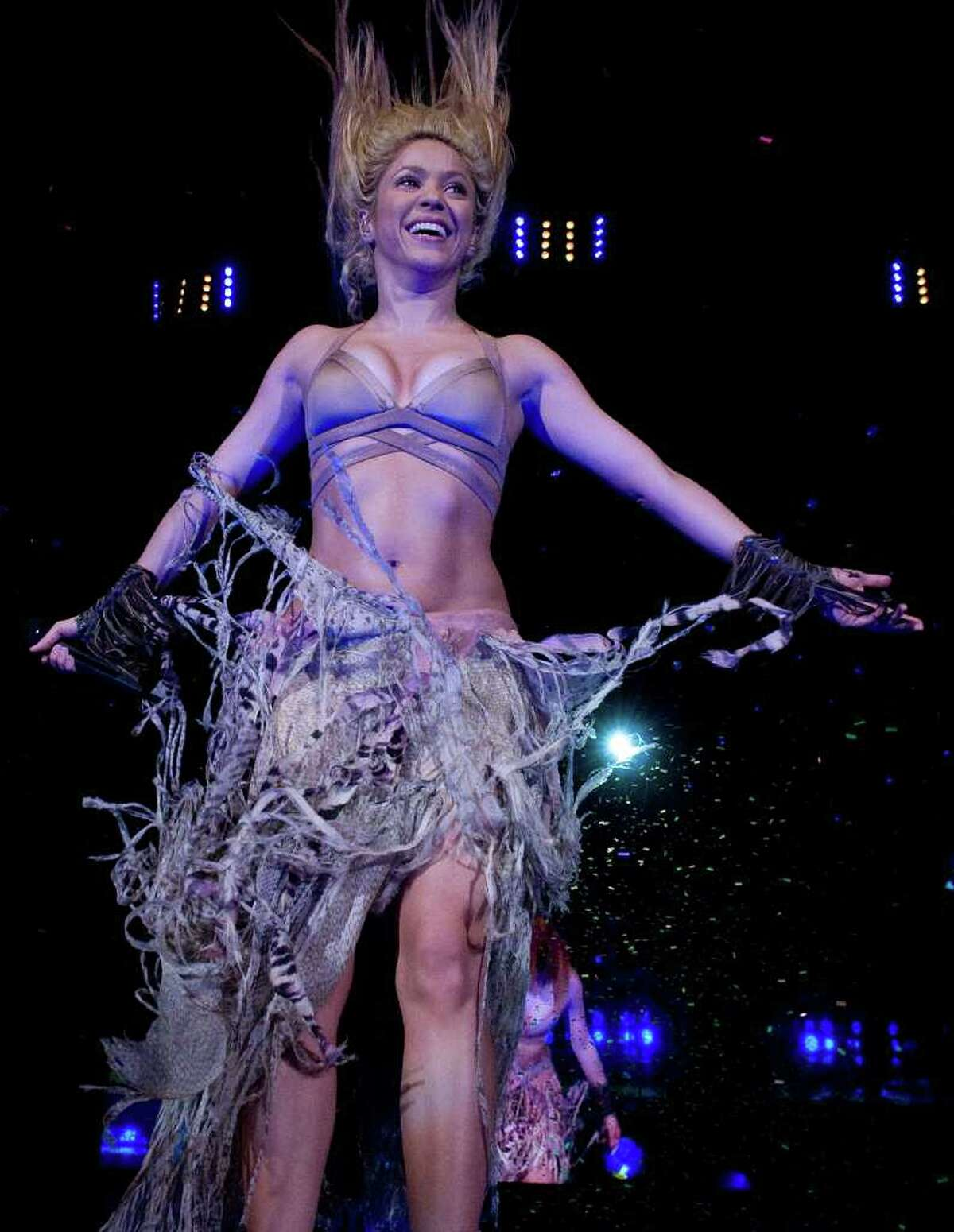 Shakira performs in concert at the Lluis Campanys Olympic Stadium in Barcelona, Spain.