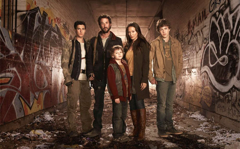 Playing survivors of an alien attack are, from left, Drew Roy, Noah Wyle, Maxim Knight, Moon Bloodgood and Connor Jessup. TNT