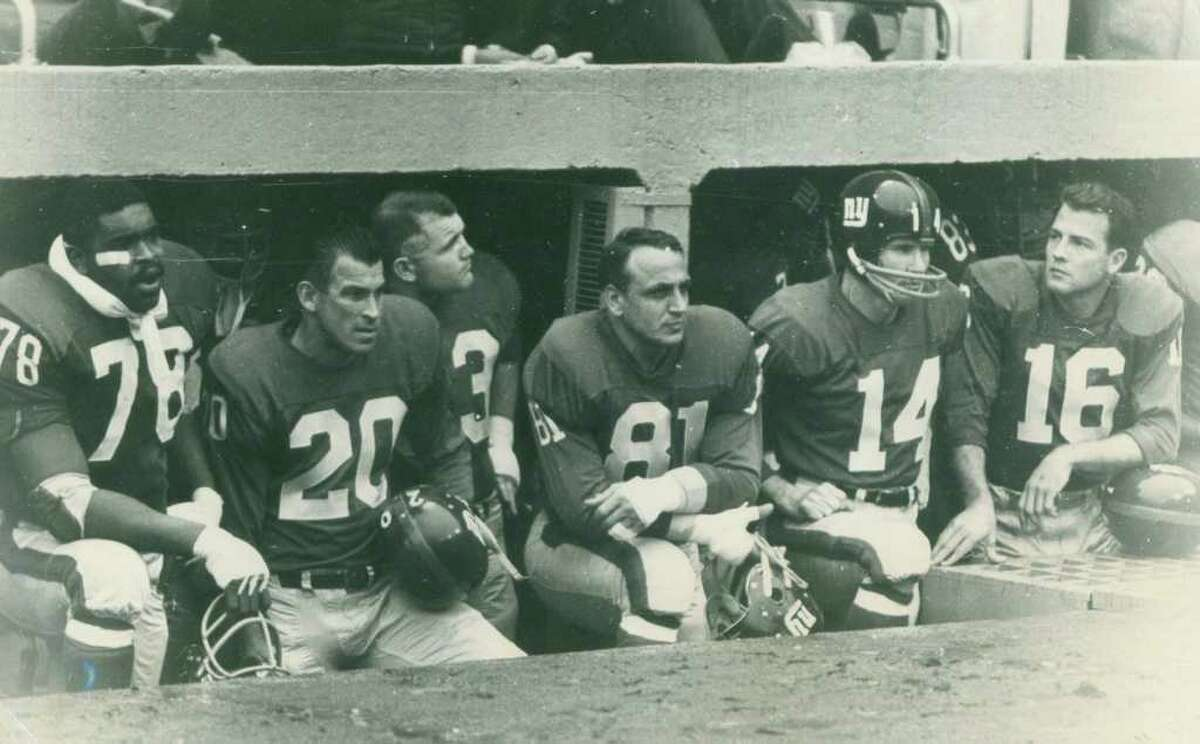 New York Giants Andy Robustelli (No. 81), Y.A. Tittle (No. 14), and Frank Gifford (No. 16). Robustelli, who lived in Stamford, died Tuesday at 85.