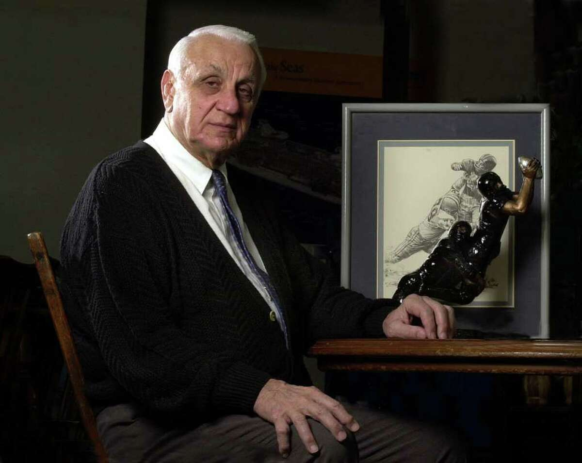 Football Hall of Famer Andy Robustelli in 2001. Robustelli, who lived in Stamford, died Tuesday at 85.