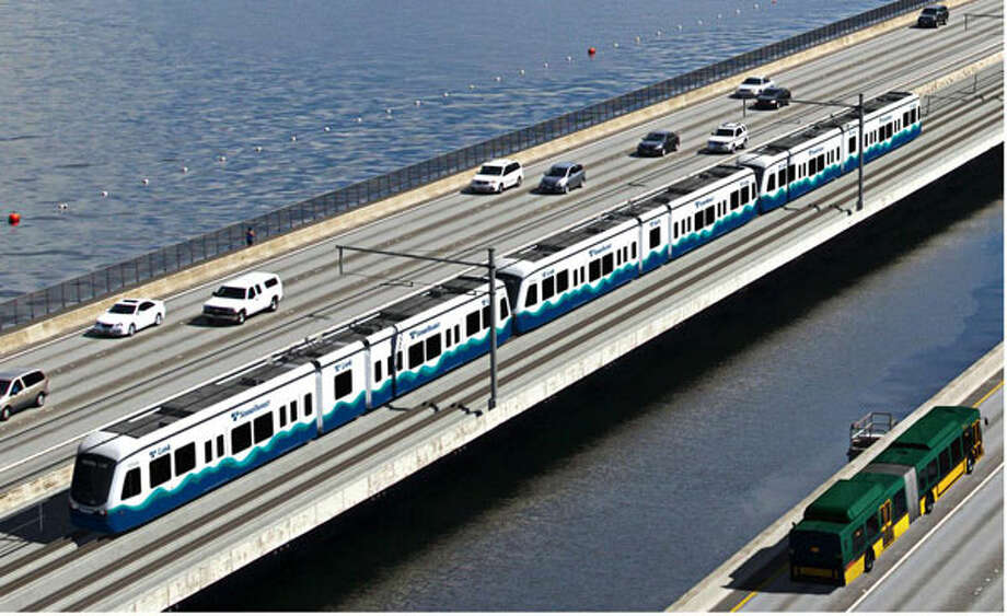 The East Link light-rail route would take over the current I-90 carpool lanes.  Photo: Sound Transit