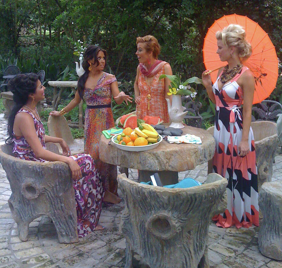 Members of the Silver Dancers sport summer maxi dresses at the home of Claire Golden. TERRY SCOTT BERTLING / EXPRESS-NEWS