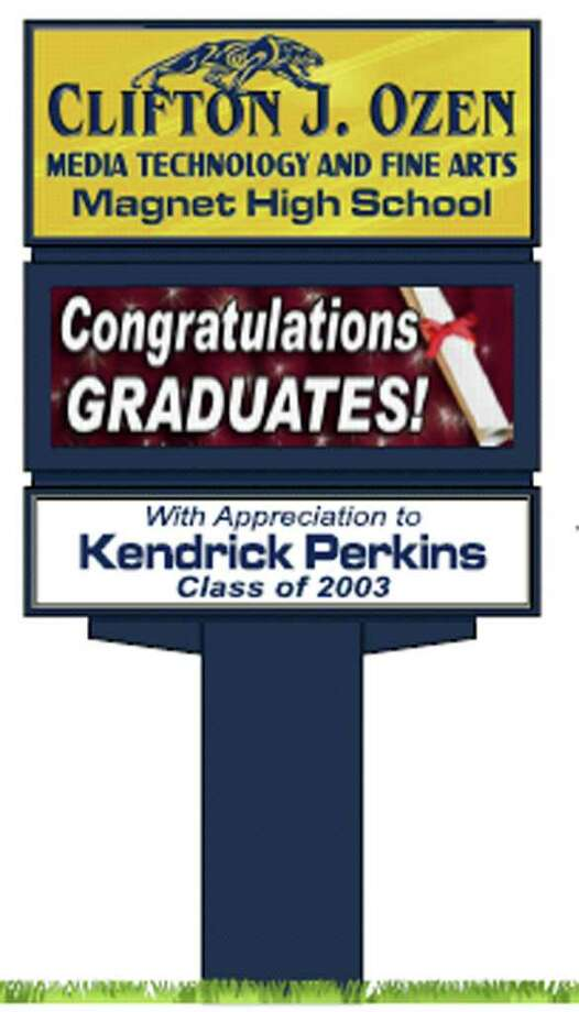 An artist rendering of a marquee sign at Ozen High School that was paid for with donations from Ozen graduate Kendrick Perkins and other community members. Provided. Photo: Provided