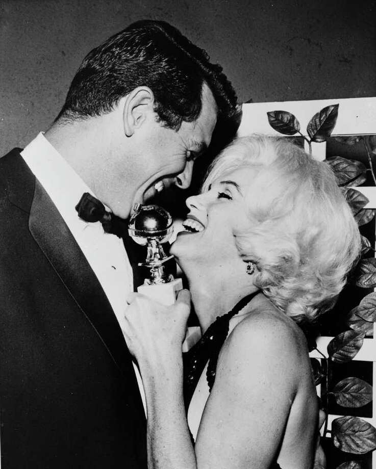 Monroe receives her Golden Globe award from Rock Hudson at the Hollywood Foreign Press Association's 19th Annual Dinner on March 13, 1962. Photo: Keystone, Getty Images / Hulton Archive