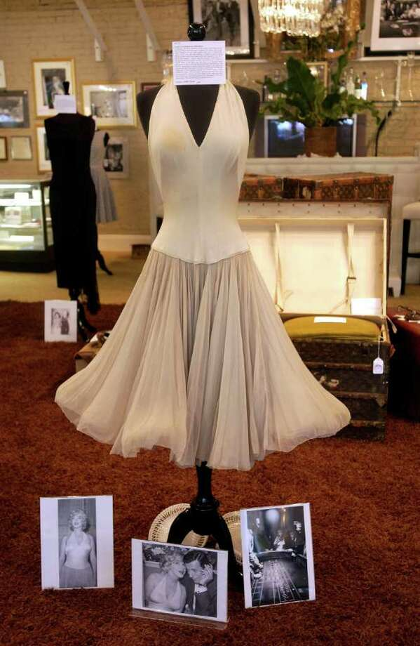 A halter dress that belonged to Monroe stands on display during a preview of the Juliens Auctions Marilyn Monroe Estate Sale at Barclay Butera June 1, 2005 in Los Angeles. Photo: Amanda Edwards, Getty Images / 2005 Getty Images